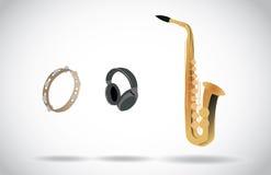 音频-萨克斯管,小手鼓,耳机 库存图片
