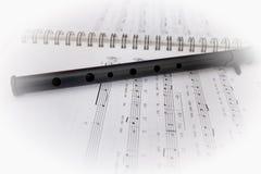 活页乐谱和长笛 库存照片
