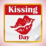 活页日历与亲吻的白天约会,传染媒介例证 免版税库存图片