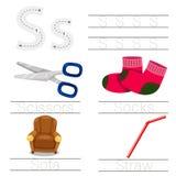 活页练习题的以图例解释者儿童s字体的 皇族释放例证