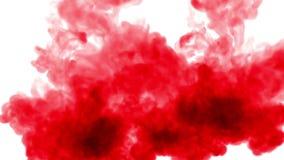 顶上的射击 红色油漆在慢动作的混合在水中和移动 墨似的背景的与烟或墨水的用途或背景 股票视频