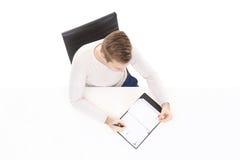 顶上的观点的有组织者的一个英俊的人在办公室 事务和办公室概念 库存图片