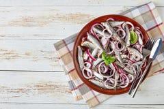 顶上的观点的盐味的西鲱用卤汁泡与红洋葱圆环,在一块板材的芫荽子在一张白色土气木桌上与 免版税库存图片