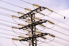 顶上的输电线 免版税库存图片