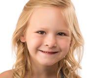 顶头射击新白肤金发的女孩 免版税库存照片