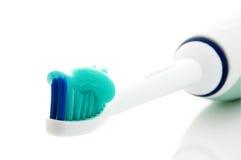 顶头牙刷牙膏 库存图片