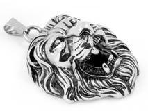 顶头狮子-动物国王Jewelry -银色下垂不锈钢 库存照片