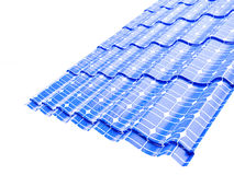 顶房顶在一个白色背景3D例证的太阳电池板 库存图片