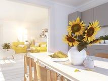 顶楼公寓的现代北欧厨房 3d翻译 图库摄影