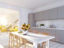顶楼公寓的现代北欧厨房 3d翻译 免版税库存图片