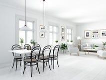 顶楼公寓的现代北欧餐厅 3d翻译 免版税库存照片