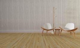 顶楼和简单的客厅有椅子和墙壁背景3d关于 免版税库存照片