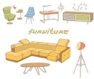 顶楼壁角沙发横幅颜色 免版税库存图片