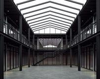 顶楼样式与黑钢结构3d的办公室空间回报 皇族释放例证