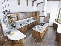 顶楼样式的现代豪华厨房 免版税库存照片