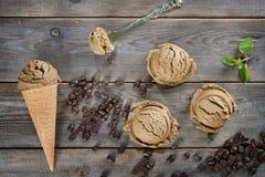 顶视图上等咖啡冰淇凌 库存照片