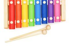 顶视图五颜六色的木琴 库存图片