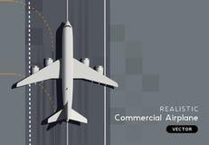 顶视图传染媒介乘客商业飞机 库存例证