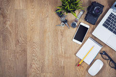 顶视图办公桌 免版税图库摄影
