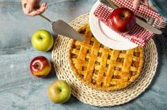 顶视图华美的苹果饼 免版税库存照片