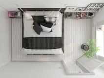 顶视图卧室室内设计3D翻译 免版税库存图片