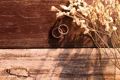 顶视图和温暖的口气 两在白色花束旁边被投入的银色圆环 免版税库存照片