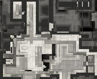顶视图城市与铅笔的计划凹道 抽象背景 库存图片