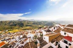 顶视图奥尔维拉村庄,其中一个美丽的白色村庄镇安达卢西亚布兰科斯,西班牙 免版税库存照片