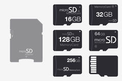 顶视图对SD存储卡适配器的微SD 存储芯片孤立 免版税图库摄影