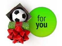 顶视图打开了有里面足球的礼物盒 回报在生动的紫罗兰色空的当前盒gradien的cg例证紫色盖帽盒盖 免版税库存图片