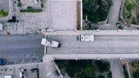 顶视图扫除机从垃圾,意大利清洗街道 股票视频