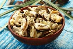 顶视图新鲜的抓住炖了淡菜海鲜盛肉盘 库存照片