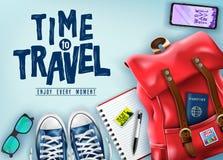 顶视图时间旅行3D与旅行项目例如红色背包,太阳镜,手机的现实横幅 图库摄影