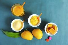 顶视图显示亚尔方索芒果的和它的副产物喜欢甜点、冰淇凌和震动 免版税库存图片