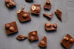 顶视图残破的巧克力片用在灰色背景的榛子 图库摄影