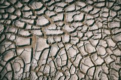 顶视图破裂的干燥地面抽象背景 免版税库存照片