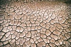 顶视图破裂的干燥地面抽象背景 免版税图库摄影