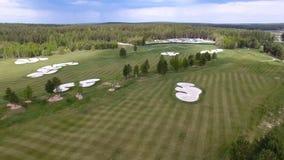 顶视图绿色高尔夫球场室外绿草领域 从飞行寄生虫的鸟瞰图 库存图片