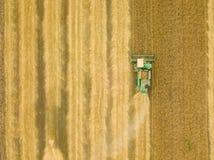 顶视图联合收割机会集麦子在日落 Harvesti 库存照片