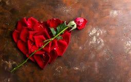 顶视图舱内甲板在黑暗的背景放置在心脏形状的红色玫瑰花瓣 拉丁文,激情概念 红色上升了 免版税库存照片