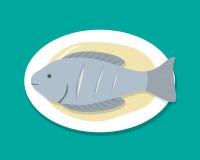 顶视图蒸了在白色板材,传染媒介的鱼 免版税库存图片