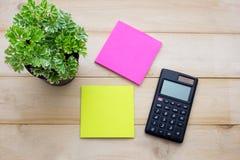 顶视图计算器、便条纸、铅笔和某一植物投入了wo 库存图片