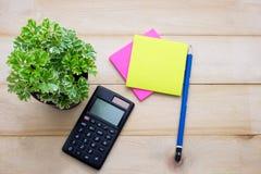 顶视图计算器、便条纸、铅笔和某一植物投入了wo 免版税库存照片