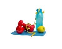 顶视图运动器材 健康生活和健康食物概念 库存图片