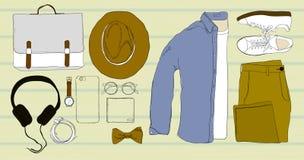 顶视图,被折叠的衬衣, T恤杉,长裤,眼镜平的位置例证五颜六色手拉和乱画  免版税库存照片