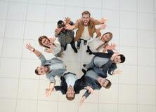 顶视图 一个小组成功的青年人 图库摄影