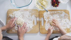 顶视图-女性手形成从酸奶干酪的自创薄煎饼 库存图片