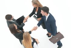 顶视图 握手商务伙伴 库存照片