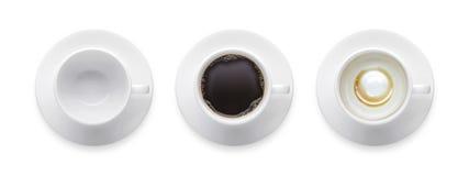 顶视图-热的无奶咖啡杯子,空的咖啡杯, 3称呼coffe 库存照片