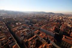 顶视图fromo中央寺院大教堂在佛罗伦萨,意大利 免版税图库摄影